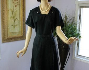 Vintage 50s Dress Day to Dinner Black Linen Dress w Gored Skirt