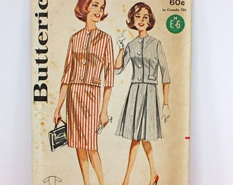Vintage 60s Butterick Pattern 2258 2 piece Suit  Straight and Full Skirt Uncut Pattern Size 10 Bust 31