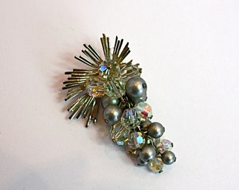 Vintage 50s Dangle Brooch Cascade of AB Crystals w Grey Pearls