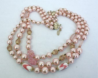 Vintage 50s Necklace Pink 3 strand Graduating Glass Plastic Beads