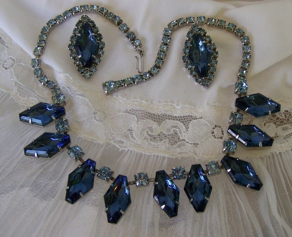 Vintage 50s Necklace Earrings Blue Faux Sapphire Choker Necklace and Clip Earrings Set