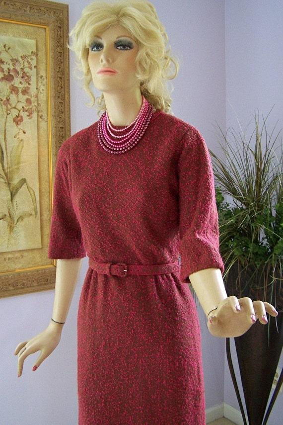 Vintage 50s Dress R K Originals Pink Green Boucle Wool Day Afternoon Dinner