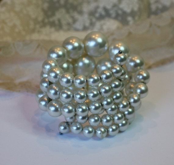 Vintage 50s Wrap Bracelet  3 strand Large White Faux Pearls