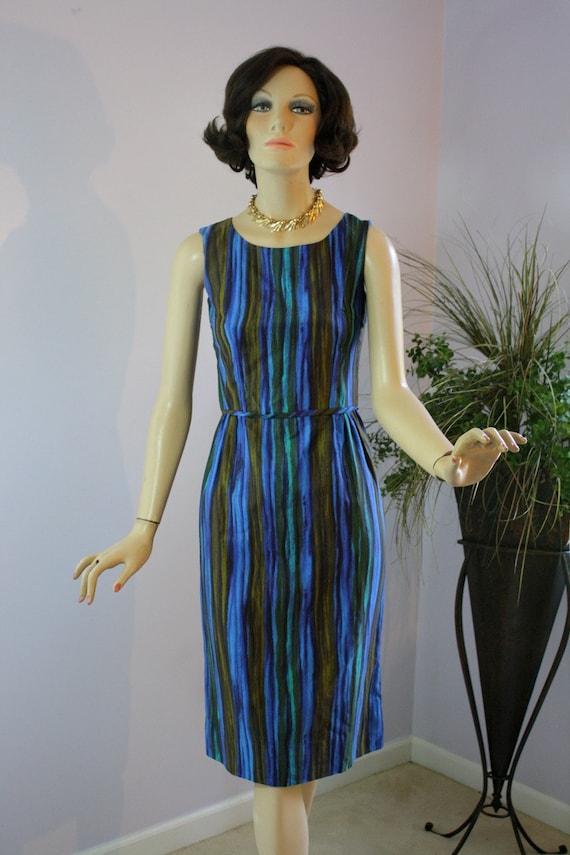 Vintage 60s Day Dress Blue Brown Green Stripe Sheath w Short Jacket