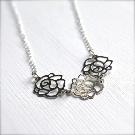 Silver Rose Charm Necklace . Sterling Silver Jewelry Necklace . Silver Rose Flower Charm Necklace . Rose Flower Bridal Necklace.