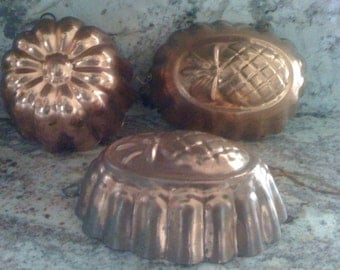 Vintage 1940s French Country Solid Copper Baking Molds Jello or Cake Made in Portugal with Brass Rings- Old Patina