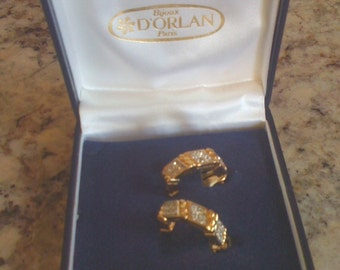 2Days Sale Signed DORIAN Of PARIS Clip On Earrings/ Pave Set Rhinestone/ Vintage Earrings Original Box