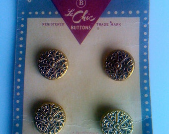 2Days Sale Vintage 40s Gold Buttons with Metal Filigree Designs on Original Fashionable Buttons/ Set of 4 Buttons