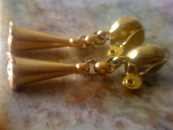 Modern Gold Trumpet Dangle Drop Earrings