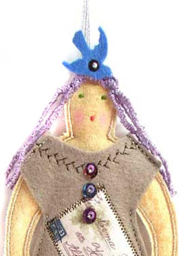 SALE Cloth Doll Ornament with Collaged Dress