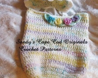 Sweet and Soft Pastel Baby Cocoon and Bonnet Crochet Pattern PDF 279