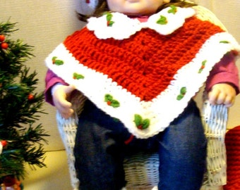 Doll Poncho, Hat and Booties Crochet Patterns PDF 501 fits 20inch doll and real newborn babies