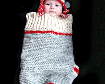 Sock Monkey Cocoon and Hat Set Crochet Pattern pdf 411