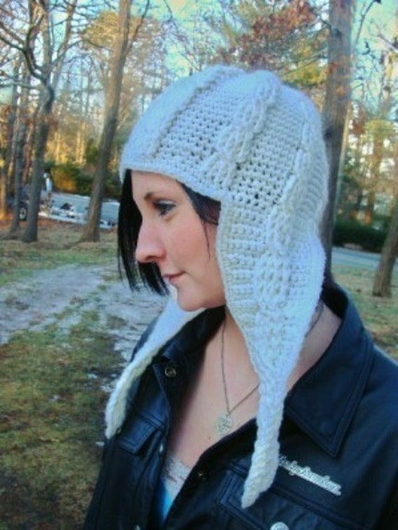 Cable Long Ear Flap Hat Crochet Pattern 399