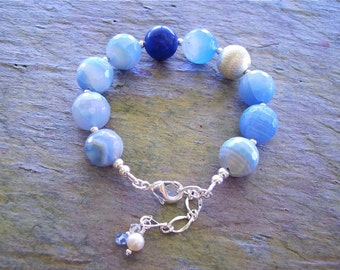 Bracelet & Earrings Set - Sky Blue Faceted Agate - Sterling Silver, Gemstone Bracelet and Earrings - Bright Blue Summers