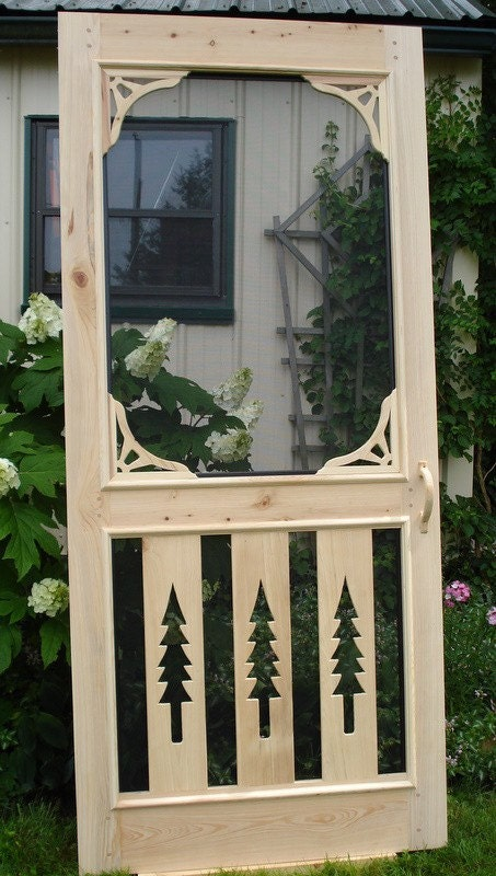 Wood Screen Doors With Removable Screens : Pine trees cypress screen door