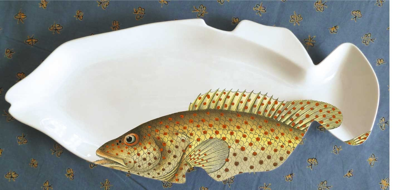 Fishy fish porcelain serving platter by milestonedecalart for Fish serving platter
