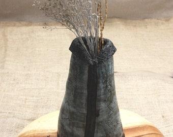 Sale. Black Ceramic Vase. LITTLE OLD DRESS Vase. Ceramic Sculpture. Ceramic Art. Hand Built Ceramics.