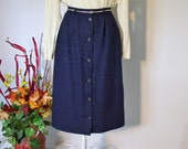 Navy Pencil Skirt Wool Navy Blue Small Size 4