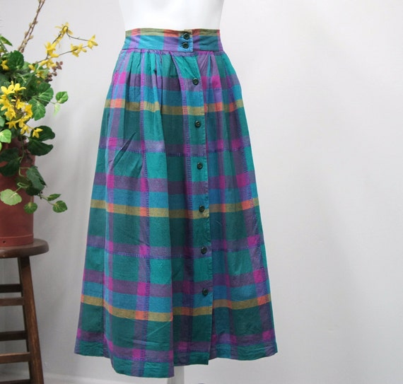 Vintage 1970s Skirt Plaid Cotton Skirt Gathered Womens High Waisted Skirt Colorful Full Skirt Size Large