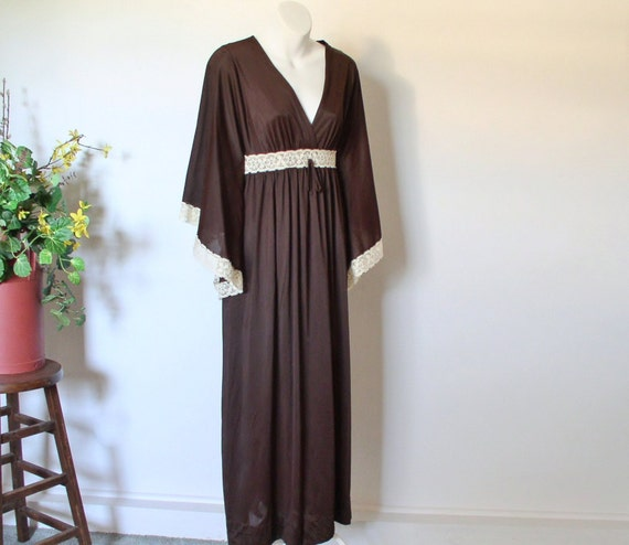 Deena Brown Nightgown Reserved for Betty Maxi Vintage Hostess Lounger Cream Lace Trim Angel Wing Sleeves Size Small