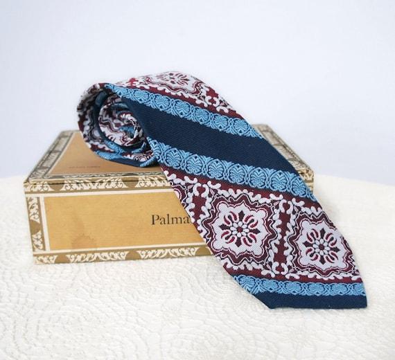 Rockabilly Tie On Sale Neck Tie Vintage 1960's Tie Wide Necktie Blue Maroon Old Fashioned Neck Wear