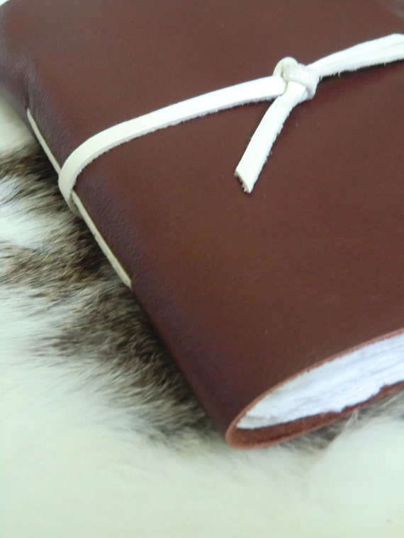 Goshawk - Leather Journal Sketchbook in Brown and White