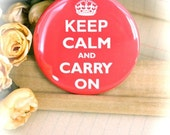 POCKET MIRROR - 2.25 Inch - Keep Calm and Carry On - Pink - (PM-005)
