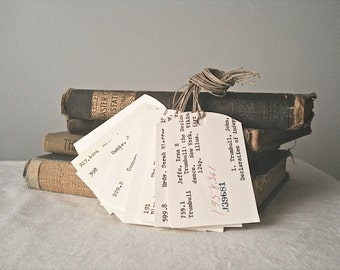 Library Card Catalog Gift Tags-Set of 12