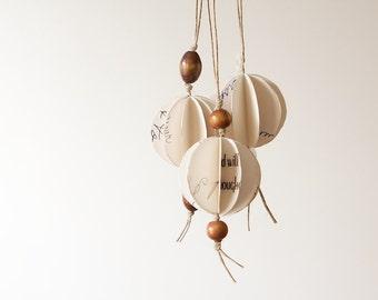 Trio of Mini Geometric Orb Ornaments-White Wishes