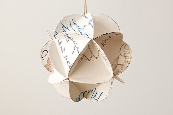 Geometric Upcycled Paper Ornament-Handwritten Wishes in Blue/Black Ink