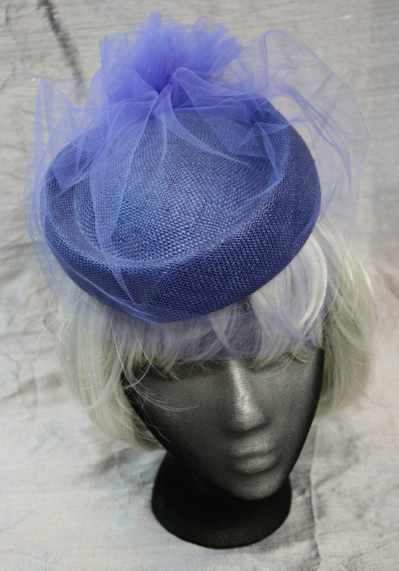 Blue Veiled Straw Pillbox