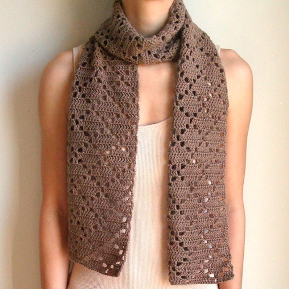 Eyelet Lace Scarf Knitting Pattern : Diamond Eyelet Scarf PDF Crochet Pattern Instant Download