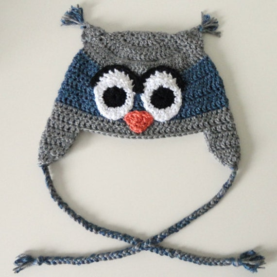 Crochet Chunky Owl Hat Pattern : Owl Hat 5 sizes PDF Crochet Pattern by CrochetSpotPatterns