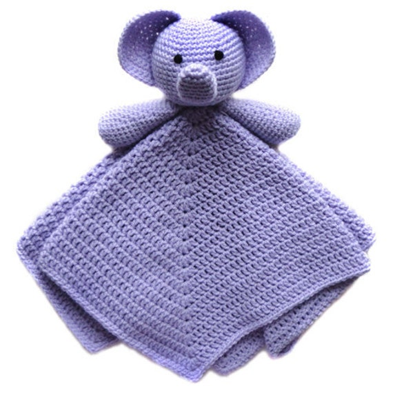 Crochet Pattern For Elephant Blanket : Elephant Security Blanket PDF Crochet by CrochetSpotPatterns