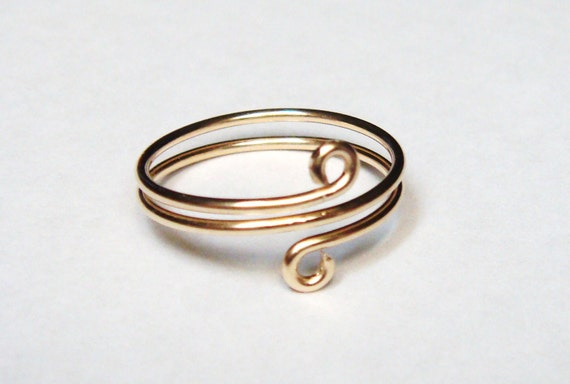 14K Gold Wire Wrapped Ring or Toe Ring - 14K Gold Ring - 14K Gold Toe Ring