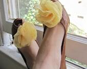 Shoe Clips in Sunshine Yellow Chiffon Bloom