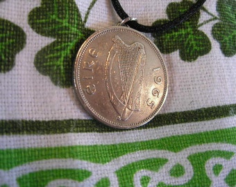 AUTHENTIC 1965 Irish Coin Birth Year Necklace/1965 IRELAND Floirin