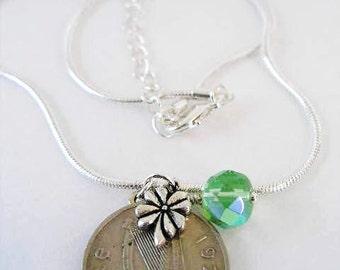 AUTHENTIC 1971 IRISH Coin Charm Necklace - IRISH 5 Pence