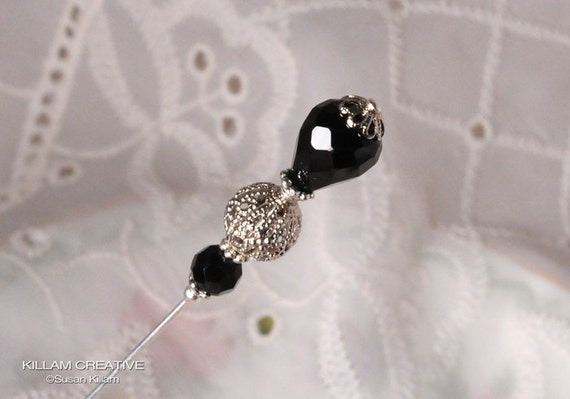 Black 3 Inch Stick Pin, Hat Pin, Scarf Pin, Hijab Pin KC0195