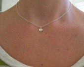 tiny sterling silver disc necklace, small disc, tiny pendant, layering necklace, choker length, small medallion, sterling silver, everyday