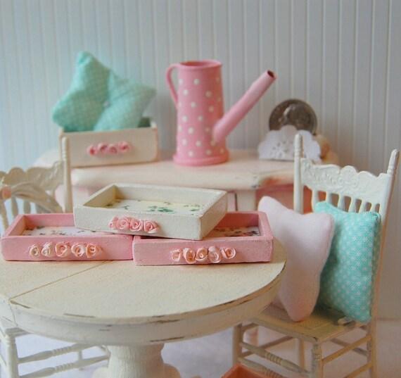 Dollhouse Miniature Shabby Rose Chic Distressed White Trinket Tray
