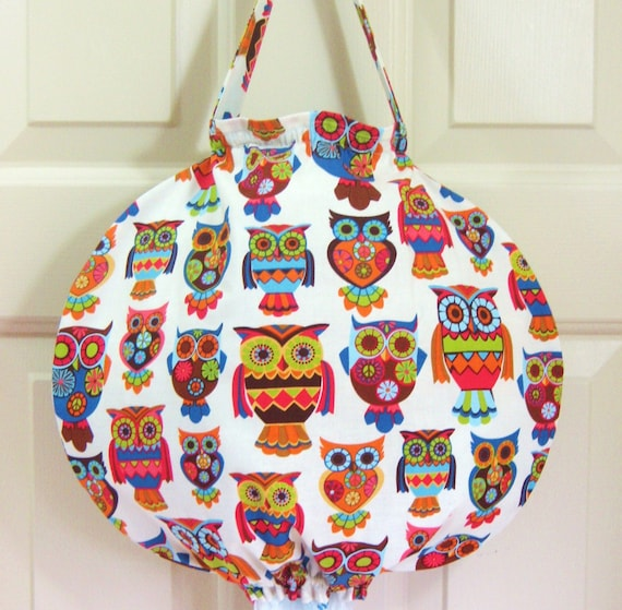 Grocery Bag Holder-Unique Round Design with Funky Retro Owls on Cream