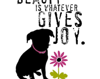 Black Mutt Inspirational Beauty Quote Dog Art Print Inspirational Wall Decor Digital Art
