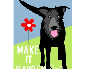 Black Dog Art Print Wall Decor Don't Stop Believing Inspirational Series