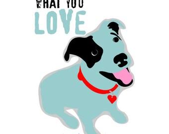 Wall Decor Blue Mutt Love Art Dog Print