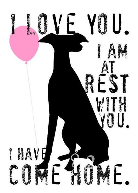 Greyhound Rescue Dog Art Print Wall Decor