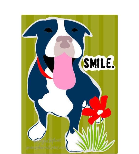 Pitbull Smile Art Print Wall Decor
