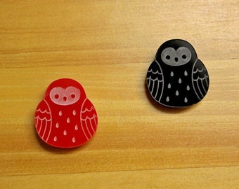 Laser Cut Acrylic Brooch Owl red or black - SALE!