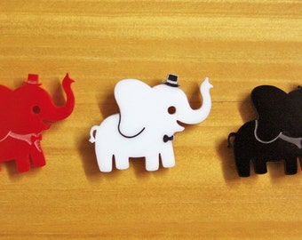 Laser Cut Acrylic Brooch Elephant - black OR red